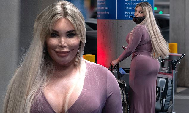 Jessica Alves shows off her £30,000 bum augmentation in a figure-hugging purple dress