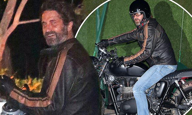 Gerard Butler departs Nobu Malibu on a motorbike